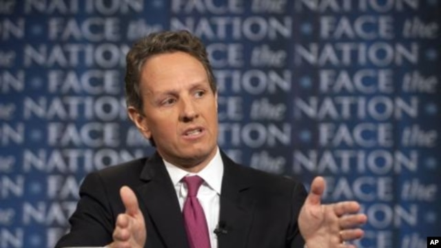 """In this photo provided by CBS News, U.S. Treasury Secretary Timothy Geithner talks about the debt crisis on CBS's """"Face the Nation"""" in Washington, July 10, 2011"""