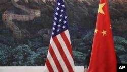 资料照片 美中两国国旗
