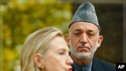 美国国务卿克林顿会见阿富汗总统卡尔扎