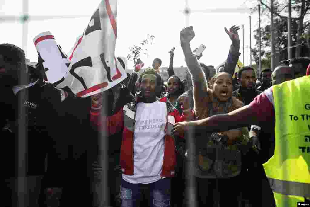 African migrants take part in a protest at Rabin Square in Tel Aviv, Jan. 5, 2014.