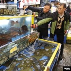 Pejabat kota Seoul memeriksa kadar radiasi dalam ikan hidup di pasar Garak-dong di Seoul, Selasa (29/3).