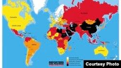 Reporters sans frontières publie la carte du classement mondial de la liberté de la presse.