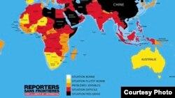 Le classement de Reporters sans frontières sur la liberté de la presse à travers le monde.