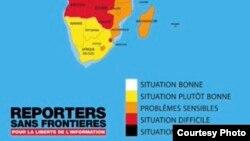 Madagascar sur la carte du classement RSF sur la liberté de la presse.