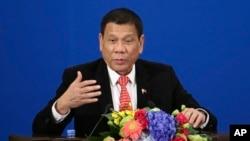 Tổng thống Philippines Rodrigo Duterte phát biểu tại Diễn đàn đầu tư Thương mại Philippines-Trung Quốc tại Đại lễ đường Nhân dân ở Bắc Kinh, ngày 20 tháng 10 năm 2016.