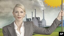 "Academy Award winner Australian Cate Blanchett is seen in a TV commercial of ""Say Yes to the carbon tax"" in this still image taken from video, in Sydney, May 30, 2011"