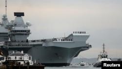 """英国皇家海军""""伊丽莎白女王""""号抵达朴茨茅斯海军基地。(资料照片)"""