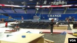 """""""CHANGE"""" - One of themes of the Republican National Convention, and balloons already in place for Thursday night's celebration."""