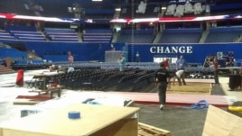 """CHANGE"" - One of themes of the Republican National Convention, and balloons already in place for Thursday night's celebration."