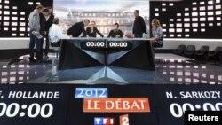 Estudio de televisión en donde se llevará a cabo el debate por la elección presidencial de Francia, esta noche de 2 de mayo de 2012.