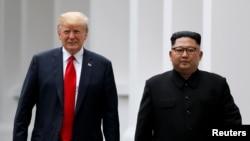 美国总统特朗普与朝鲜领导人金正恩在新加坡会晤。(2018年6月12日)