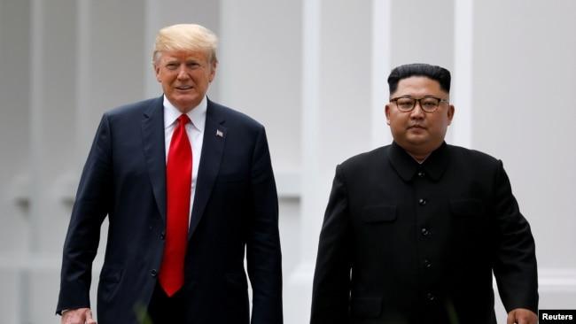 特朗普与金正恩2018年6月12日在新加坡会面(路透社)