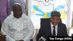 Felix Tshisekedi, (kushoto) akiwa pamoja na msemaji wa chama cha UDPS Jean-Marc Kabund,mjini Kinshasa, DRC 28 octobre 2016. (VOA/Top Congo)