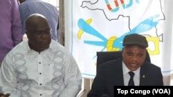 Félix Tshisekedi, et Jean-Marc Kabund, lors d'une conférence de presse au siège de l'UDPS, Limete, Kinshasa, en RDC le 28 octobre 2016. (VOA/Top Congo)