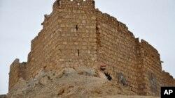 پالمیرا کے قلعے کے باہر ایک شامی فوجی شام کا جھنڈا اٹھائے کھڑا ہے۔ 27 مارچ