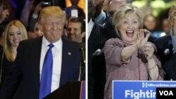 미국 대선에 출마한 공화당의 도널드 트럼프 경선 후보(왼쪽)와 민주당의 힐러리 클린턴 후보.