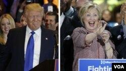 Ứng cử viên tổng thống của đảng Cộng hòa Donald Trump và ứng cử viên tổng thống của đảng Dân chủ Hillary Clinton ăn mừng chiến thắng tại New York.