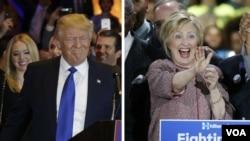 Donald Trump (agoch); epi Hillary Clinton.