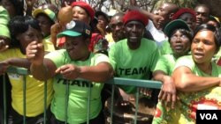 FILE: Zanu-PF supporters seen outside parliament during the official opening ceremony Tuesday.