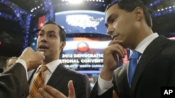 San Antonio Mayor Julian Castro (L), who will be the convention keynote speaker, and his twin brother, State Representative Joaquin Castro, who is running for U.S. Congress, are interviewed at the Democratic National Convention in Charlotte, North Carolin