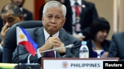 The Philippines' Secretary of Foreign Affairs Albert del Rosario is seen at a meeting in Bandar Seri Begawan in this July 1, 2013, file photo.