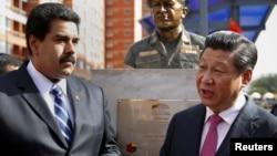 中國國家主席習近平和委內瑞拉總統馬杜羅交談 (資料圖片)