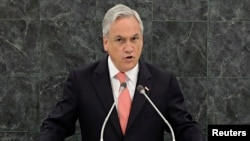 FILE - Chile's President Sebastian Pinera addresses the 68th United Nations General Assembly in New York, Sept. 24, 2013.