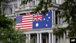 美國和澳大利亞國旗(美聯社2019年9月17日)