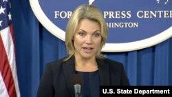 헤더 노어트 미국 국무부 대변인이 13일 워싱턴 외신기자클럽에서 브리핑을 하고 있다.