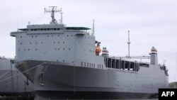 The cargo ship MV Cape Ray, owned by the U.S. Navy, in Portsmouth, Virginia, May 6, 2012. (Photo by Thoralf Doehring AFP)