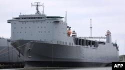 Navio cargueiro americano MV Cape Ray no porto de Portsmouth, no Estado da Virgínia