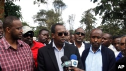 "FILE - Somali diplomat Mohamed Ali Nur, pictured in an interview in Nairobi in September 2013, thanked Ethiopia for releasing 114 prisoners. ""Only six Somalis remain in the Ethiopian jails, and we have agreed that they will soon be released,"" he said."