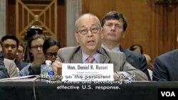 대니얼 러셀 미 국무부 동아태담당차관보가 28일 상원 외교위 산하 동아태소위에서 열린 청문회에서 증언하고 있다.