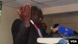 Prime Minister Morgan Tsvangirai addressing a press conference in Harare