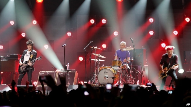 Ron Wood, from left, Charlie Watts, and Keith Richards of The Rolling Stones performing at the 12-12-12 The Concert for Sandy Relief at Madison Square Garden in New York, December 12, 2012.