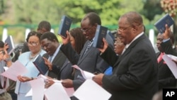 Cabinet Ministers are sworn in at State House in Harare, Zimbabwe, Dec. 4, 2017.