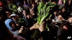 Cientos de personas acudieron al llamado de los agricultores argentinos que distribuyeron cajas de lechuga, espinaca y otras verduras.