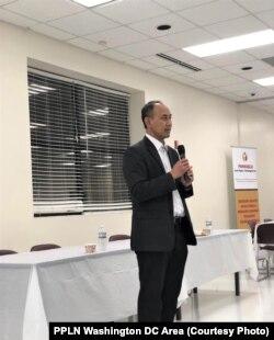 Wakil Duta Besar Indonesia untuk AmerikaSerikat Iwan Freddy Hari Susanto mengingatkan masyarakat Indonesia yang menghadiri sosialisasi Pemilu di Maryland agar menghargai perbedaan pilihan.(Foto: PPLN Washington DC Area)