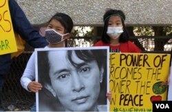 緬甸追求民主事業者後繼有人,圖為當天參加集會的小朋友。(美國之音2021年3月13日洛杉磯)
