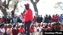 Prime Minister Morgan Tsvangirai addressing villagers in Lower Gweru's Vungu constituency, Midlands province