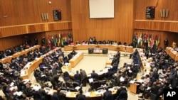 Dirigentes africanos reunidos na sede da AU
