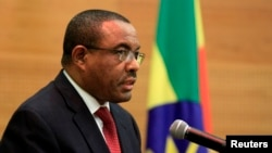 FILE - Ethiopia's Prime Minister, Hailemariam Desalegn, speaks in Addis Ababa, Feb. 11, 2014.