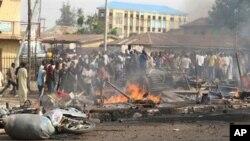 Moja ya eneo lililoharibiwa na mashambulizi ya waasi nchini Nigeria