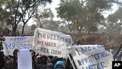 伊達難民營的難民抗議惡劣的生活條件(資料照片)
