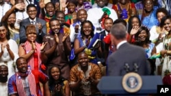 President Barack Obama is welcomed by the Young African Leaders Initiative in Washington, August 2016. The program is bringing hundreds of young Africans to the U.S.