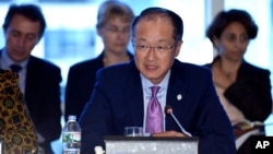World Bank Group President Dr. Jim Yong Kim speaks during a World Bank Group town hall at the World Bank Group in Washington, Oct. 8, 2014.