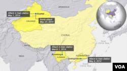 چین میں حالیہ ہفتوں کے دوران ہونے والے دہشت گرد حملوں کے مقامات