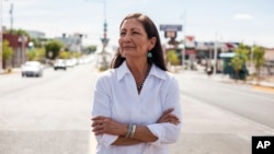 Deb Haaland poses for a portrait in a Nob Hill Neighborhood in Albuquerque, N.M., June 5, 2018. Haaland, a tribal member of Laguna Pueblo, is aiming to become the first Native American woman in Congress.