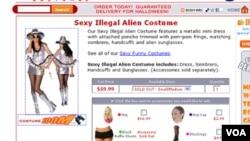 """El disfraz """"Sexy illegal alien"""" aún se vende en algunos sitios de Internet."""