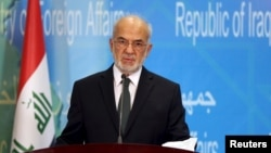 FILE - Iraqi Foreign Minister Ibrahim al-Jaafari speaks to journalists during a news conference.